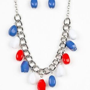 red blue white necklace